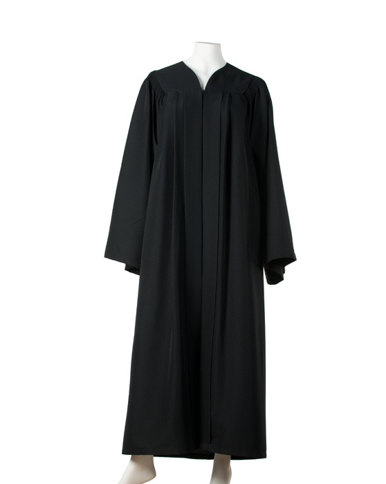 Graduation gown with fluting (Black)