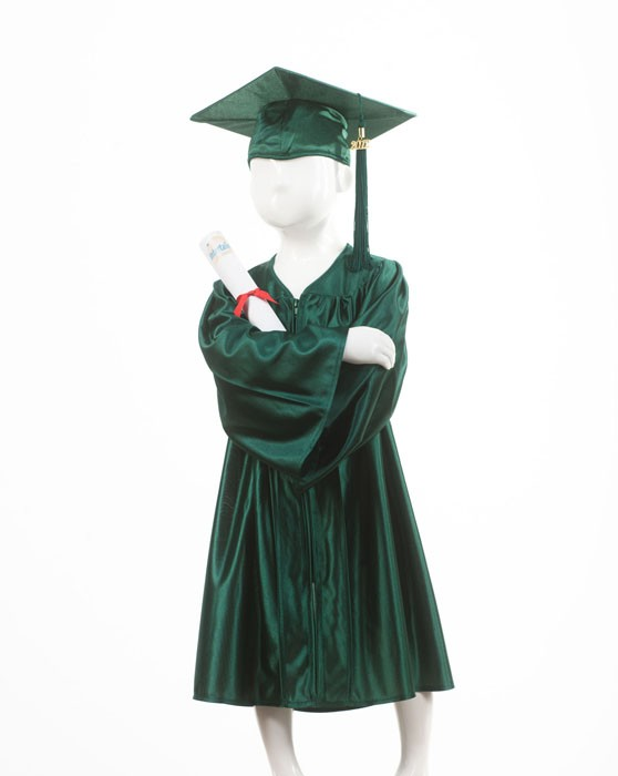 Child's Forest Green Graduation Gown and Cap Souvenir Set
