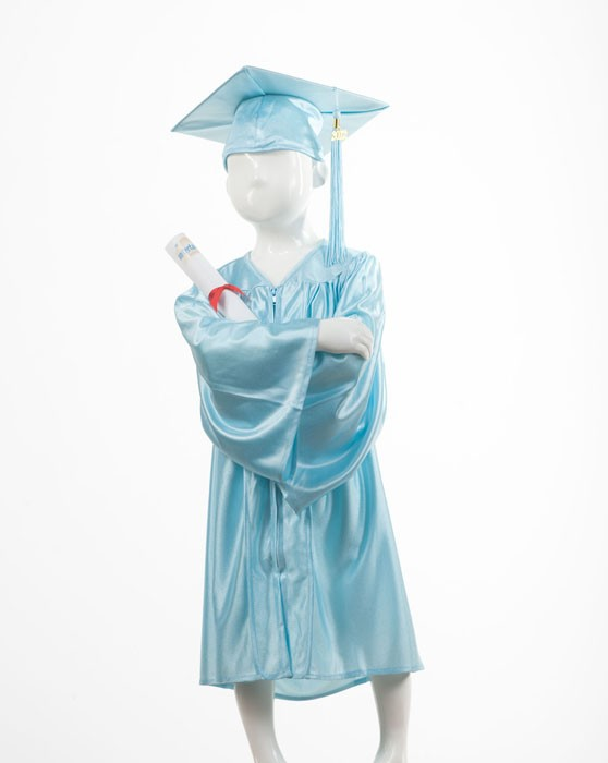 Child's Sky Blue Graduation Gown and Cap Souvenir Set