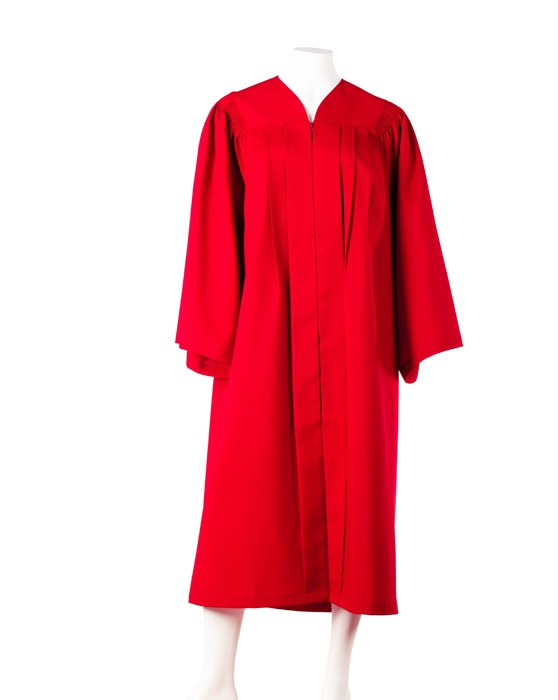 Graduation gown with fluting 'Full Fit' (Red)