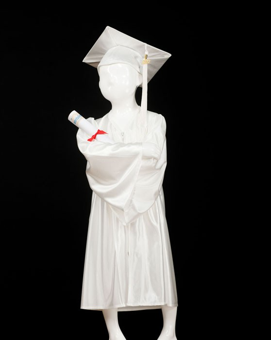 Child's White Graduation Gown and Cap Souvenir Set